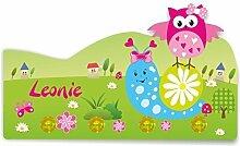 Kinder Garderobe mit Namen und Wunschmotiv aus Kunststoff (Motiv Schnecke)
