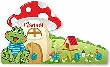 Kinder Garderobe mit Namen und Wunschmotiv aus Kunststoff (Motiv Frosch)