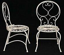 Kinder Garten Stühle Sitzgarnitur 2er Set antikweiß Kindermöbel Balkon Terrasse