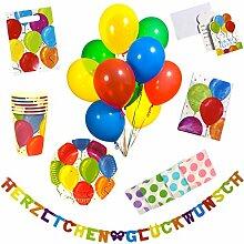 Kinder Geburtstag Deko 96 Tlg. Geburtstagsdeko