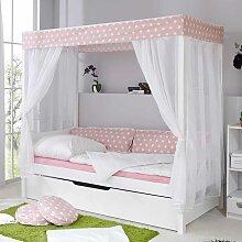 Kinder Himmelbett mit Ausziehbett Weiß Rosa