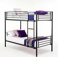 Kinder-Hochbett / Einzelbett für 2 Kinder, Metall schwarz