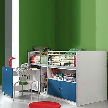 Kinder-Hochbett in Weiß-Blau Weiß