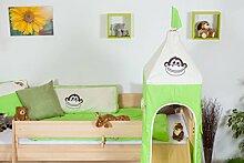 Kinder Hochbett mit Rutsche und Turm - Buche natur Massivholz 90x200 cm