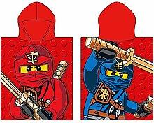 Kinder Kaputzen Poncho Lego Ninjago rot 50 x 115