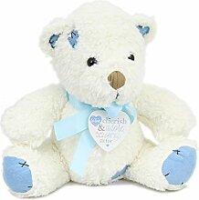 Kinder Kinderzimmer Teddy Bär Türstopper mit Herz Gedicht Anhänger ~ BLUE BOY