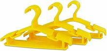 Kinder Kleiderbügel 30er Set - Kunststoff Gelb - Kinderzimmer Bügel 30 Stück für Kindermode & Babykleidung - Grinscard