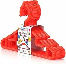Kinder Kleiderbügel aus Kunststoff, orange-rot, 30cm - 20er Set Hangerworld