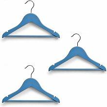 Kinder Kleiderbügel Kids Kleider Bügel Set 3, 9, 12 Stück - verschiedene Farben (3er Set, Hellblau)