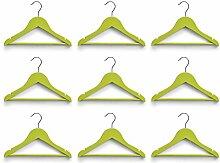 Kinder Kleiderbügel Kids Kleider Bügel Set 3, 9, 12 Stück - verschiedene Farben (9er Set, Grün)