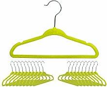 Kinder Kleiderbügel mit Antirutsch Samtbezug - Grün 20er Set - Drehbare Kinderbügel für Kindermode und Babykleidung