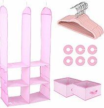 Kinder Kleiderschrank,Kinder aus der garderobe garderobe Kinder 24 Stück kleidung für Kinder veranstalter in der box(Farbe optional) (Rosa)