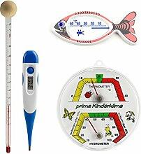 Kinder komplett Thermometerset mit Babyflaschenthermometer , Thermohygrometer , Fieberthermometer , Hüllen mit Gleitmittel und Badethermometer Fisch weiß bedruckt Se