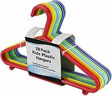 Kinder Kunststoff glatt Kleiderbügel Kleidung integrierter Hosen Aufhängen Bar Krawatten Schals Gürtel Rainbow Multicolours, 4 Pack (80)