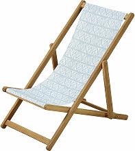 Kinder-Liegestuhl aus Akazienholz und Stoff, blau