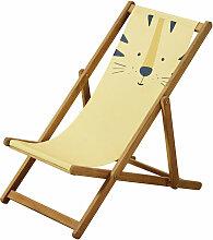 Kinder-Liegestuhl aus Akazienholz und Stoff, gelb