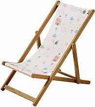 Kinder-Liegestuhl aus Akazienholz und Stoff, rosa