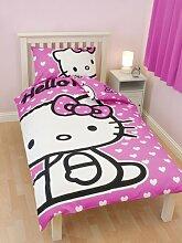 Kinder Mädchen Hello Kitty Herzen Bettwäsche-Set