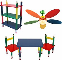 Kinder Möbel Set Decken Ventilator einstellbar Tisch Gruppe Massiv Holz Steh Regal Bunt Stift Optik Bleistift Kindermöbel