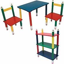 Kinder Möbel Set Tisch Gruppe Stühle Massiv Holz bunt lackiert Spiel Zimmer Mobiliar Stand Regal Bleistift Kindermöbel
