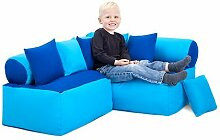 Kinder Möbel-sitzsack Ecke Sofa mit Kissen Lesen Sitzen, Erhältlich in 4 Farbe Kombinationen - Blau/Turq