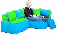 Kinder Möbel-sitzsack Ecke Sofa mit Kissen Lesen Sitzen, Erhältlich in 4 Farbe Kombinationen - Kalk/Turq