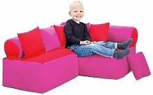 Kinder Möbel-sitzsack Ecke Sofa mit Kissen Lesen Sitzen, Erhältlich in 4 Farbe Kombinationen - Rot/Pink
