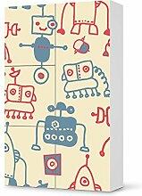 Kinder-Möbel umgestalten für IKEA Besta Schrank Hochkant 4 Türen (3+1) | Möbelfolie selbstklebend Dekorsticker | Ideen für Erlebnisraum Wohnen | Kids Kinder Crazy Robots