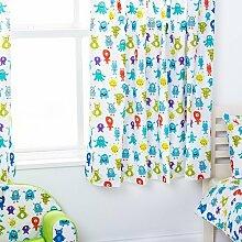 Kinder Monsters Aliens Bettwäsche und Möbel Sammlung Kinderzimmer Kindergarten Spielzimmer - Curtain Pair 66x54
