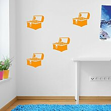 Kinder Piraten Kommode Gold, Treasure Wand Dekorationen Fenster Aufkleber Wall Decor Sticker Wall Art Aufkleber Sticker Wand Aufkleber Aufkleber Wandbild Décor DIY Deco Abnehmbare Wandaufkleber Colorful Aufkleber, Vinyl, 08 - Orange, Large (Set 1)