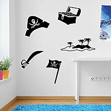 Kinder Piraten Set, Treasure Set Wand Dekorationen Fenster Aufkleber Wall Decor Sticker Wall Art Aufkleber Aufkleber Wand Aufkleber Aufkleber Wandbild Décor DIY Deco Abnehmbare Wandaufkleber Colorful Aufkleber, Vinyl, 17 - Black, Large Se