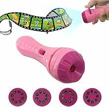 Kinder Projektor Taschenlampe, Samber Kindertaschenlampe Projektionslampe, mit Transport, Tier, Weltraum, Unterwasserwelt 4 Themen 32 Folien, Rosa