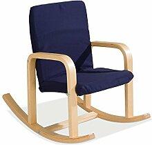 Kinder-Schaukelstuhl Kindersessel Kinderstuhl BERNIE | Dunkelblau | Holz | Baumwolle