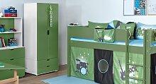 Kinder-Schrank Color, weiß (01) - grün (51)