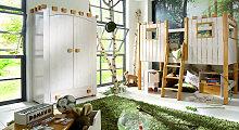 Kinder-Schrank Ritterburg, weiß mit Holzstruktur