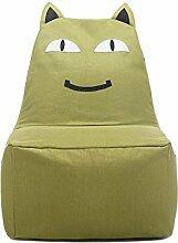 Kinder-Sitzsack, Sofas Bodenstuhl Spiel Stuhl, Lächelnde Katze, Nach Dem Ausbau Waschen , Green
