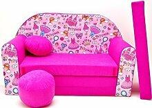 Kinder Sofabett + Gratis Polsterhocker und Kissen Kindermöbel Set - H35
