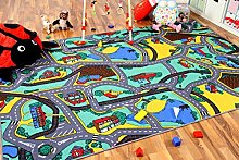 Kinder Spiel Straßenteppich Grün in 24 Größen