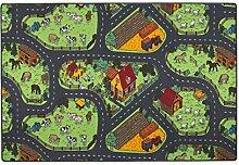 Kinder Spiel Teppich Bauernhof Grün in 24 Größen