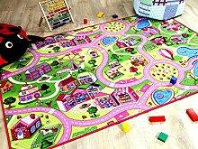 Kinder Spiel Teppich Girls Rosa Village in 24 Größen
