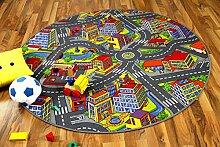 Kinder Spiel Teppich Little Town 3D Grau Rund in 7 Größen