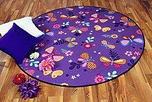Kinder Spiel Teppich Schmetterling Lila Rund in 7 Größen