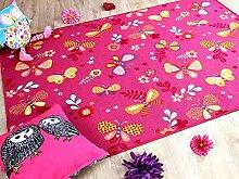 Kinder Spiel Teppich Schmetterling Pink in 24 Größen