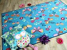 Kinder Spiel Teppich Schmetterling Türkis in 24 Größen
