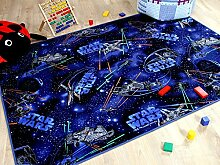 Kinder Spiel Teppich STAR WARS Blau in 24 Größen