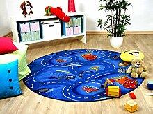 Kinder Spiel Teppich Walt Disney Cars Auto Blau 200 cm Ø Rund