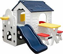 Kinder Spielhaus mit Rutsche - Garten Kinderhaus