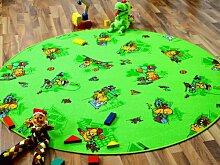 Kinder Spielteppich Bärenwelt Grün Gelb Rund in 7 Größen