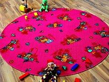 Kinder Spielteppich Bärenwelt Pink Rosa Gelb Rund in 7 Größen