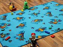 Kinder Spielteppich Bärenwelt Türkis Blau Gelb in 24 Größen